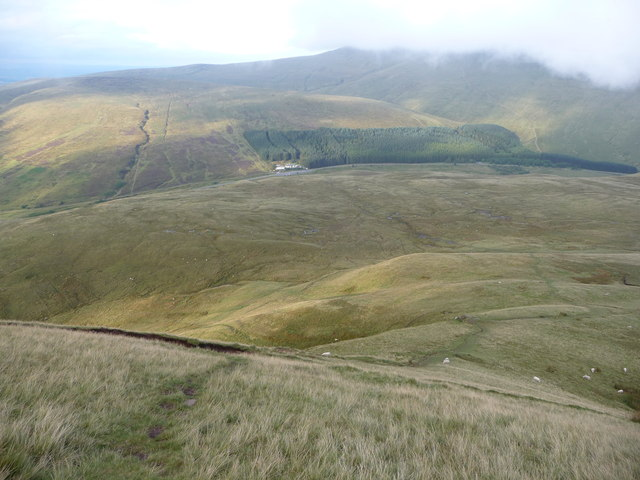 View down the very steep eastern face of Fan Fawr