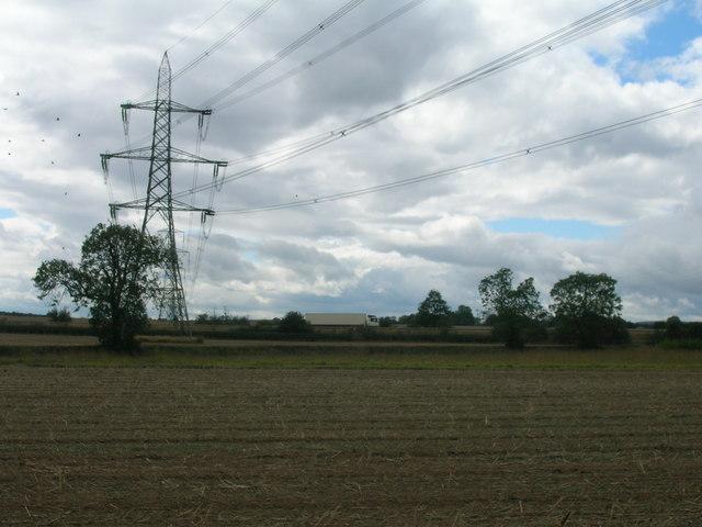 Farmland and pylons near the A1 (M)