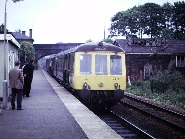 Diesel Multiple Unit at Bromsgrove, 1975