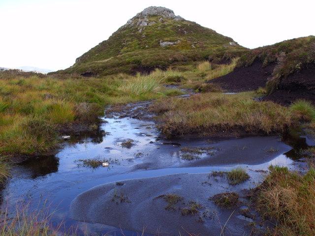 Peat and rock north of Binnean nan Gobhar in Loch Ard Forest