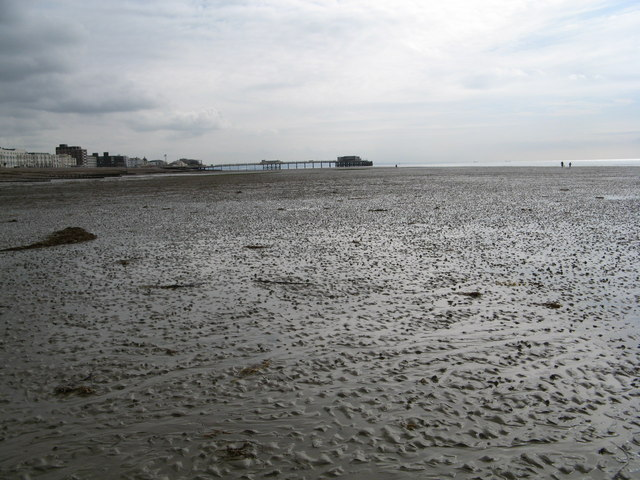 Wet soggy sand at low tide