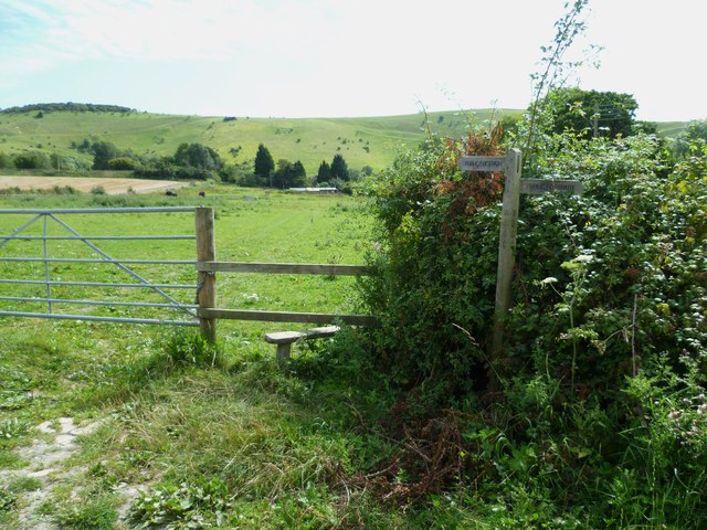Signpost and stile on the way to Fulking