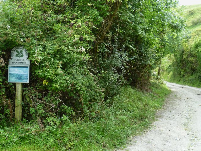 National Trust notice by path on Fulking Escarpment