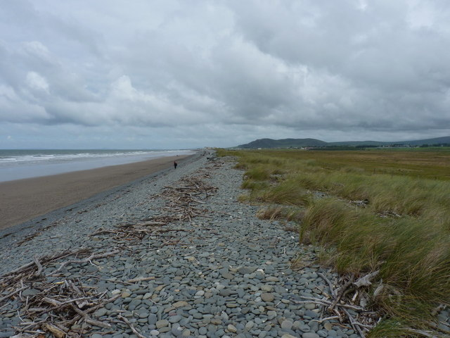 Tywyn beach and winter storm shingle