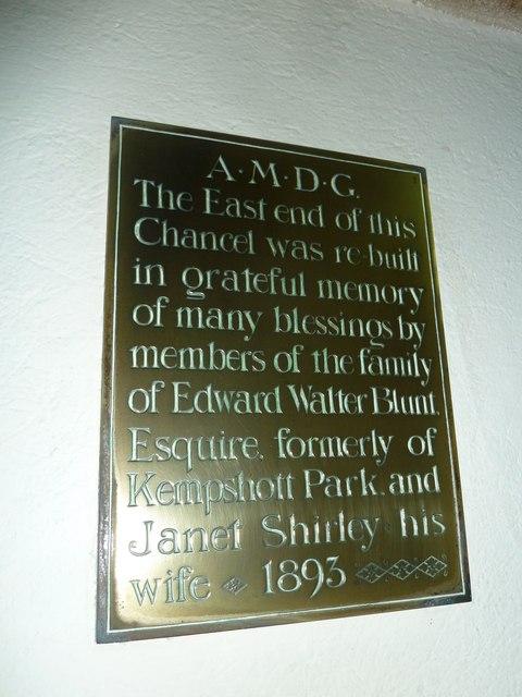 Dummer - All Saints Church: memorial (e)
