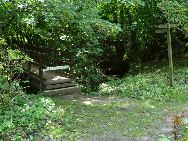 Path junction and footbridge west of Clappers Lane