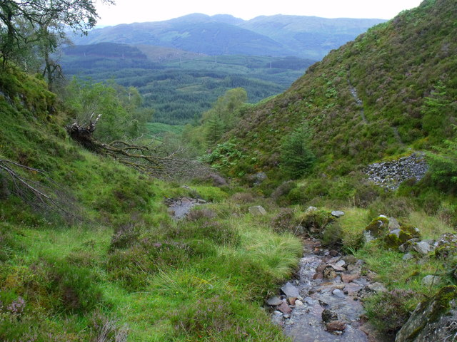 Downstream in the course of tributary to Allt Crioch in Loch Ard Forest