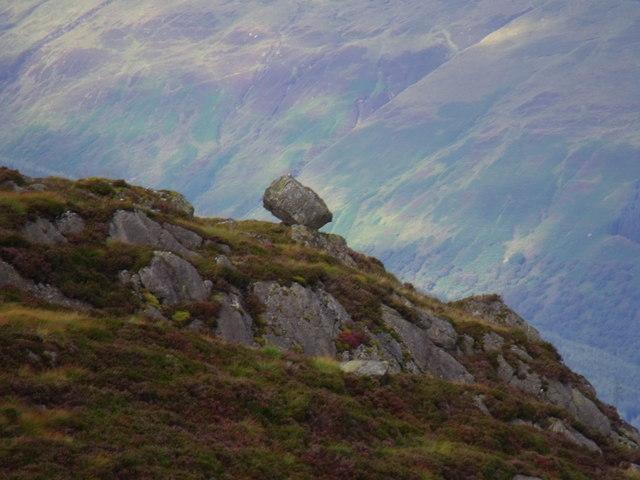 Balancing rock north of Allt Crioch in Loch Ard Forest
