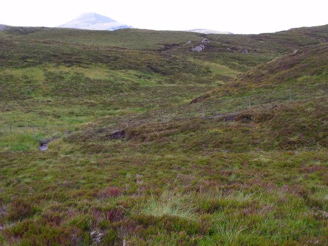Across the course of upper Allt Crioch in Loch Ard Forest