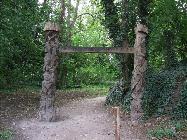 Carved entrance to Greenfield Heritage Park