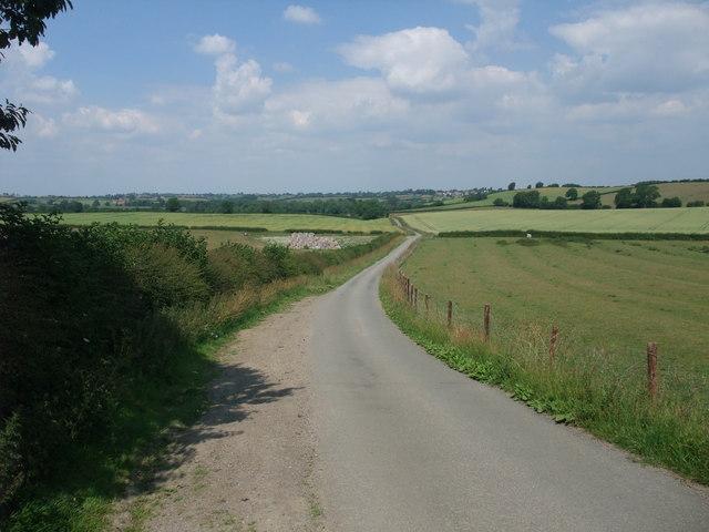 Cycle Route 6 on the narrow road towards Saddington Reservoir