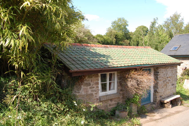 Small cottage with green roof