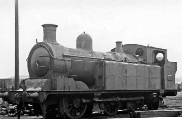 Ex-Taff Vale 0-6-2T in Locomotive Yard at Danygraig Locomotive Depot, Swansea Docks.
