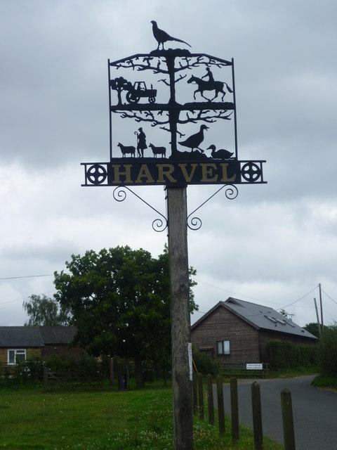 The village sign at Harvel