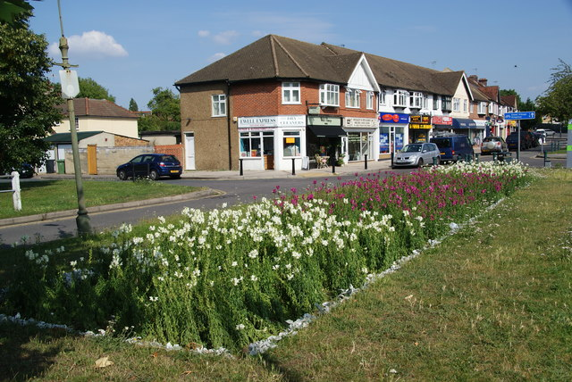 Flowerbed by a row of shops on Chessington Road