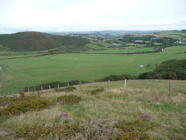 View down from the hillside of Allt Wen near Aberystwyth