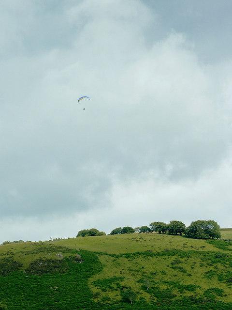 Hillside with hang glider, south-west of Llanddewi-Brefi, Ceredigion