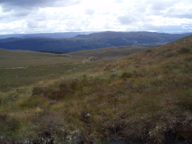 Looking down on Allt Loch a' Chràthaich and track from Meall nan Aighean