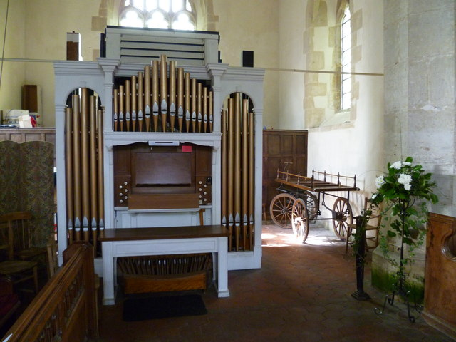 Organ and casket cart in Poynings church