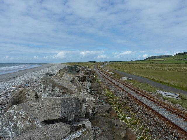 The railway and road at the back of the beach