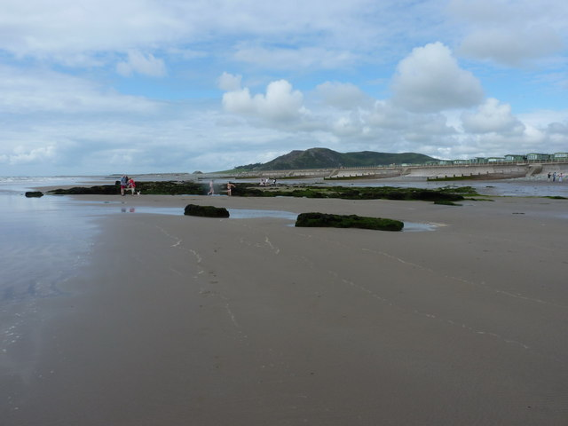 Exposed ancient peat beds on the Tywyn beach