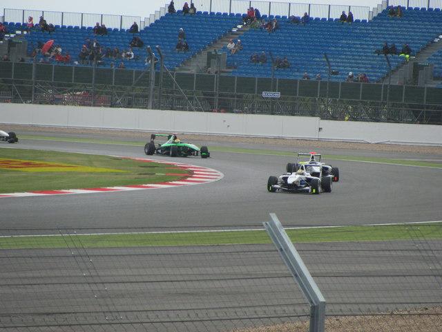 GP3 cars at Stowe corner Silverstone
