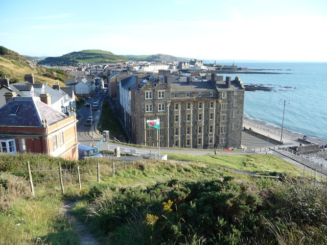 Part of Aberystwyth seafront from the coastal path