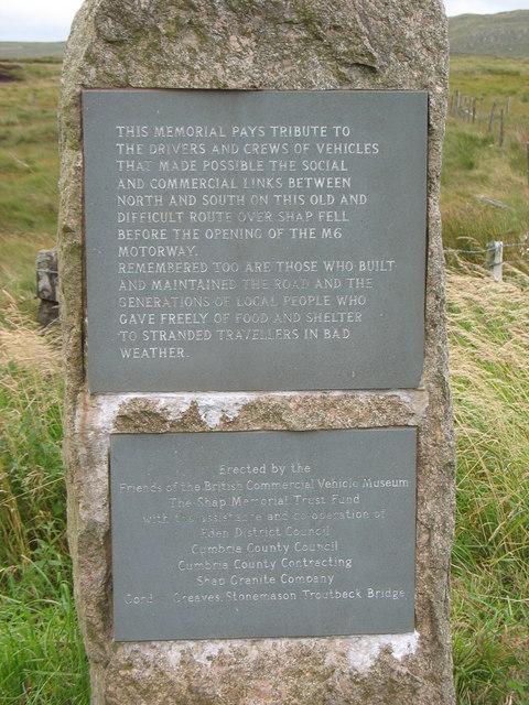 The A6 memorial at Shap summit