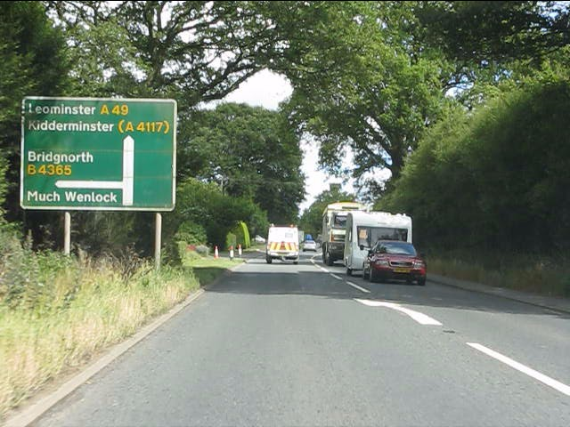 A49 approaching the B4365 junction