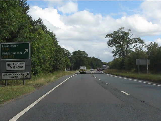 A49 approaching the northern exit for Ludlow