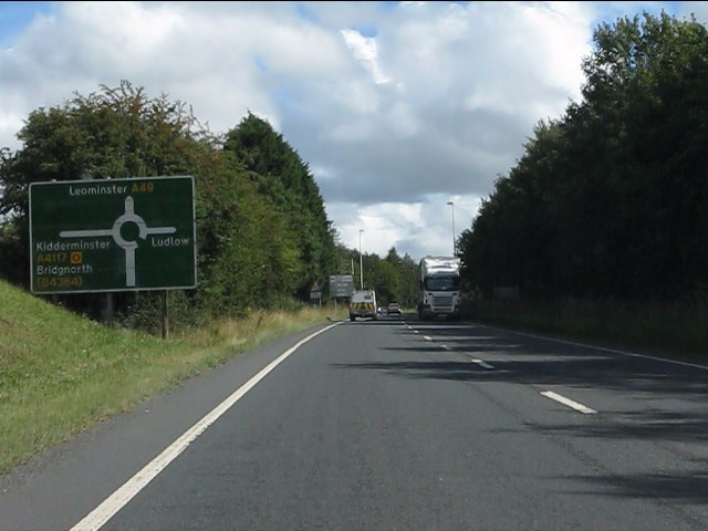 A49 approaching the A4117 roundabout
