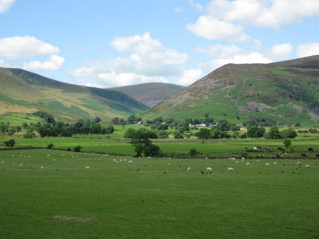 Village of Mosedale overshadowed  by Carrock Fell