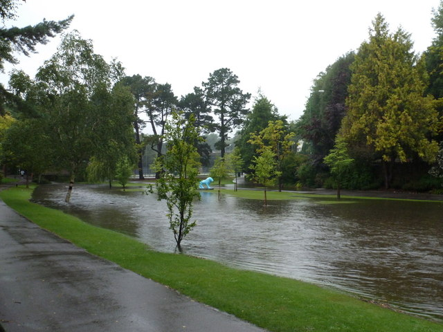 Bournemouth: flooded Bourne Stream in the Central Gardens