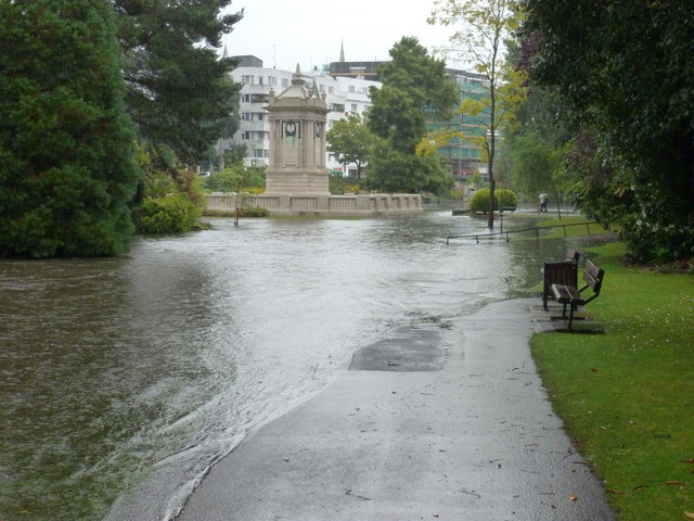 Bournemouth: floodwater passes the cenotaph