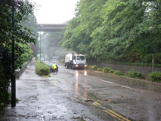 Bournemouth: clearing up Braidley Road after floods