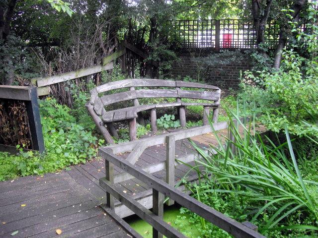 Bench in Vauxhall Community Gardens