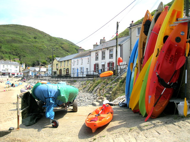 Kayaks at Llangrannog slipway