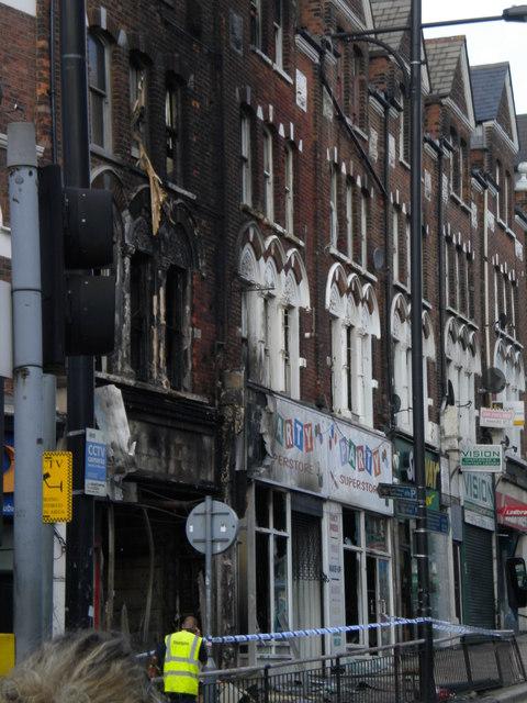 Burn out shop front, Lavender Hill SW11