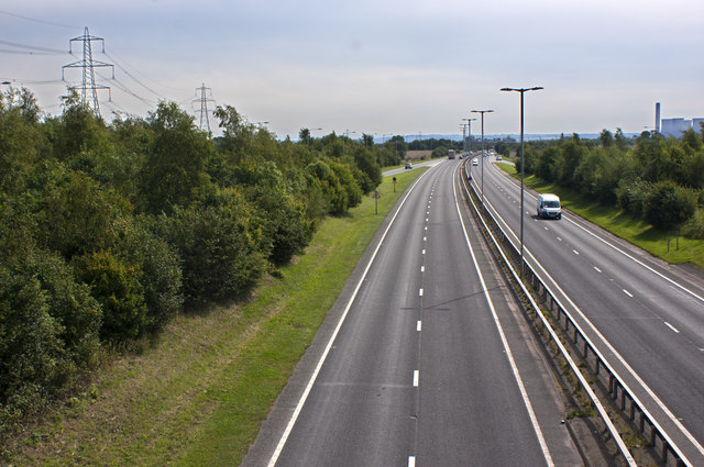 The A557 from Wilmere Road Bridge