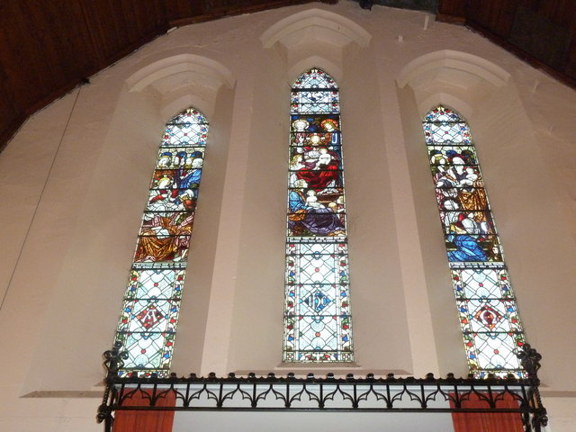 Stained glass windows on the west wall at St Mary Ewshot