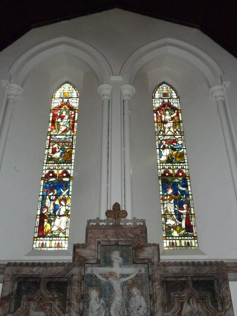 Stained glass windows above the altar at St Mary Ewshot