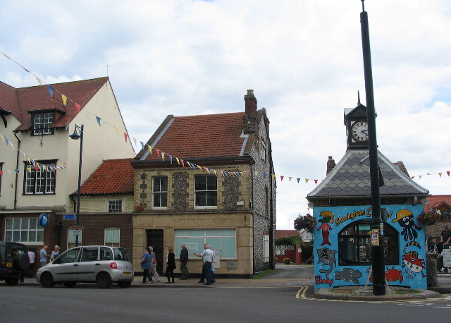 Town clock and closed bank