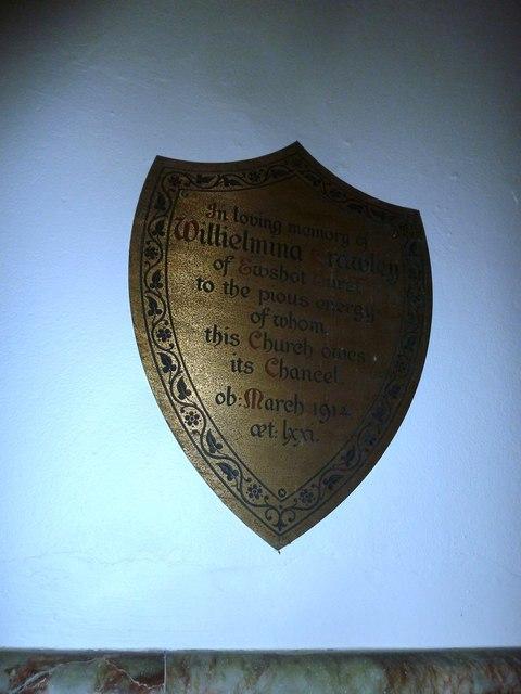 Shield shaped memorial at St Mary Ewshot