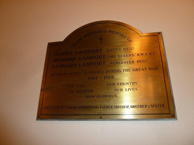 Lamport family war memorial at St Mary Ewshot