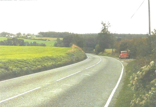 Lay-by on Bournebridge Hill (A131) in 1983