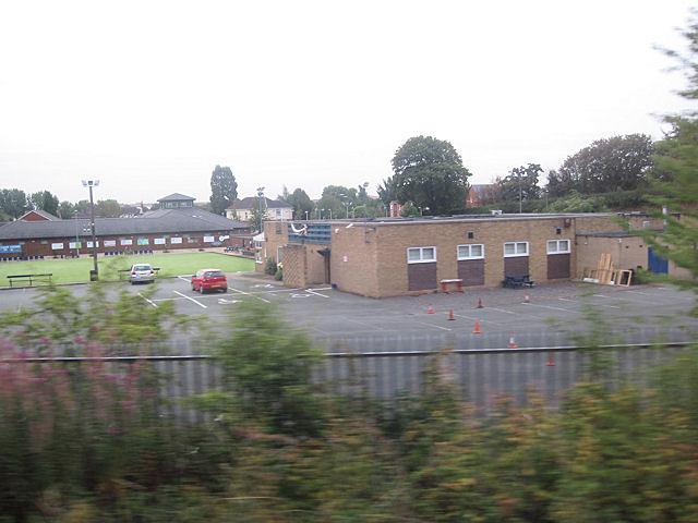 Meole Brace bowling club from railway