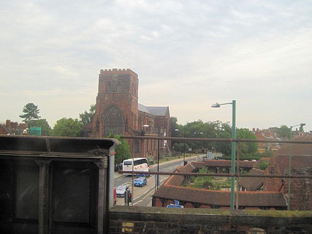 Shrewsbury Abbey from railway