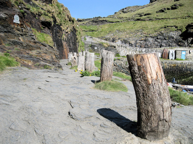 Mooring posts at Boscastle Harbour