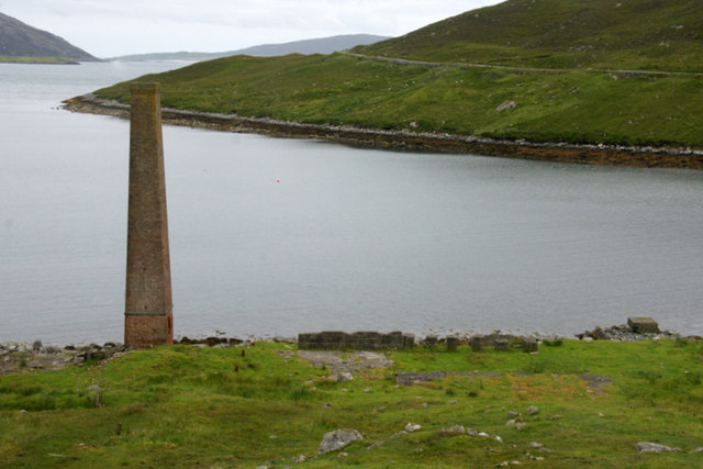 Chimney of the old whaling station at Bun Abhainn Eadarra