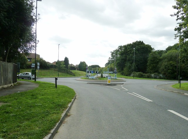 Roundabout at the junction of the A273 and B2036